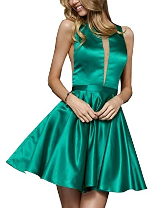 Sheer Bust Homecoming Dresses 2019 Open Back Satin A-line Formal Gowns Short Prom Dress