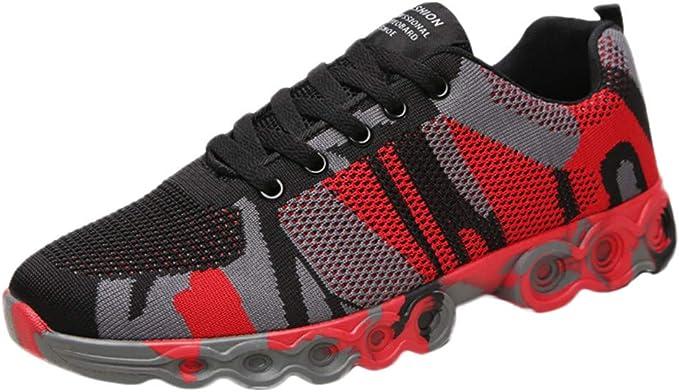 Btruely Hombre Zapatillas de Deporte Planas de Camuflaje Zapatos ...