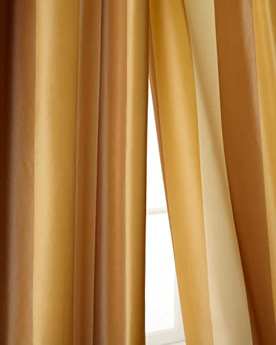 Ivory,beige gold toned striped faux silk taffeta lined rod pocket curtain panel 52 W X 120 L