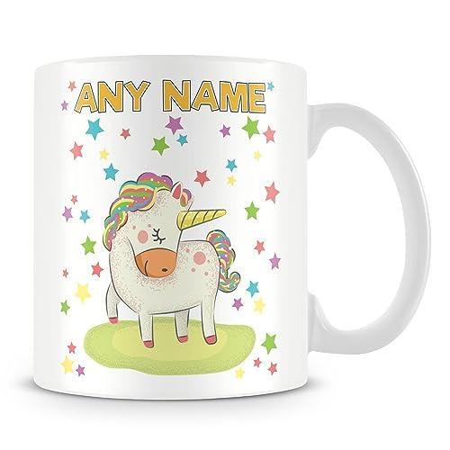 Add And Text Stars Cup Personalised Mug Rainbow With Name Gift Unicorn N0Pv8nyOwm