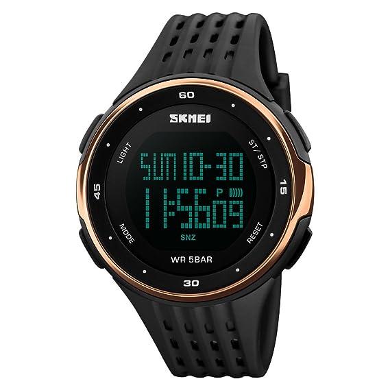 Skmei - Reloj deportivo digital para hombre, resistente al agua, con pantalla LED,