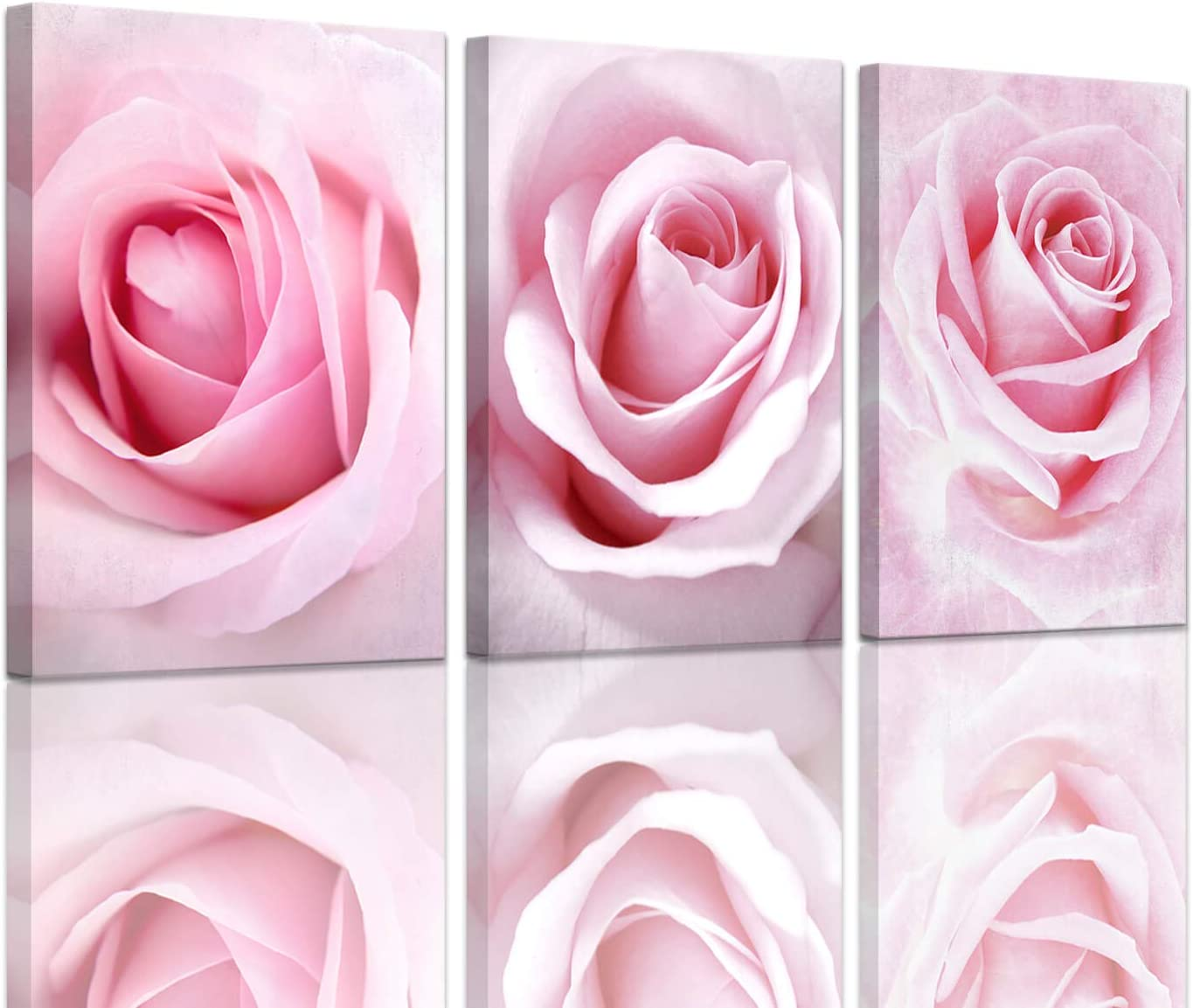 Girls Bedroom Decor Light Pink Rose Wall Art Room Decorations Flower Canvas Art Wall Decor Teenage Girls Room Decor Gallery Wrapped Artwork for Walls Floral Wall Pictures for Bathroom 12x16inch 3pcs