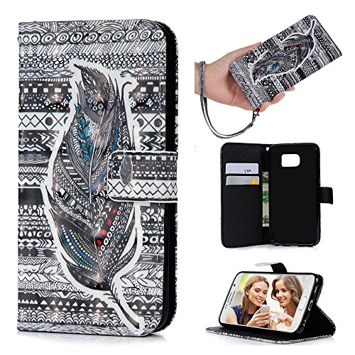 Magnetic Cushion Grip - S6 Case,Samsung Galaxy S6 Case - Wallet 3D Effect Colorful Print Patterns Premuim PU Leather Soft TPU Inner Cover with Wrist String & Magnetic Clip & ID/Credit Card Holders by Badalink