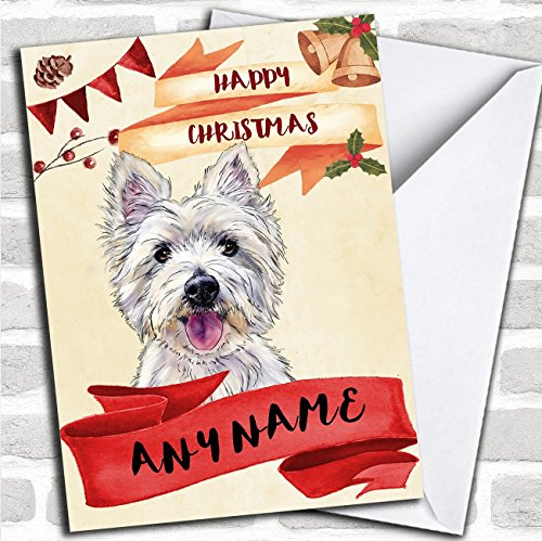 (Watercolour Rustic Westie West Highland Terrier Dog Personalized Christmas Card)