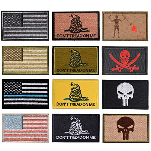 TACVEL USA Flag Patch, Dead Skull, Snake 12Pieces for Caps, Bags, Backpacks, Clothes, Vest, Military Uniforms, Tactical Gears Etc.