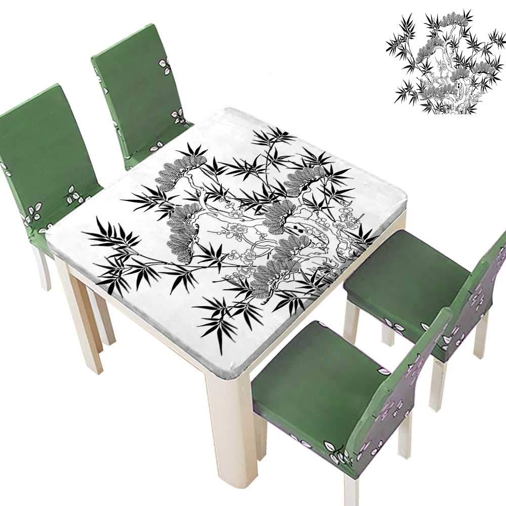 Printsonne Indoor/Outdoor Branch Leav Retro Elegance Chic Flower Grey Black White Kitchen Tablecloth Picnic Cloth 50 x 50 Inch (Elastic Edge)