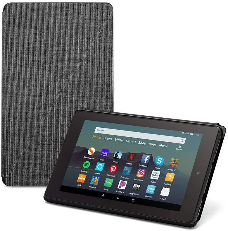 """Fire 7 Tablet (7"""" display, 16 GB) - Black + Amazon Standing Case (Charcoal Black)"""