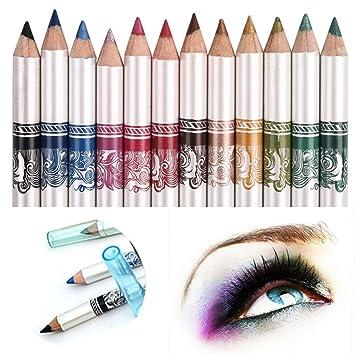 db9d4180a CINEEN 12 Colores Larga Duracion Delineador de ojos Delineador de Labios  Lápiz de Cejas Cosméticos de Belleza Maquillaje de Impermeables al Agua:  Amazon.es: ...