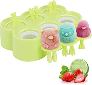 Housolution Cartoon Ice Pop Maker, 6 Pieces Food-Grade Silicone Popsicle Makers Reusable Ice Cream Makers with Sticks, Easy Release & Clean for Family DIY Homemade Popsicle - Green