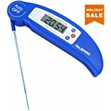 Instant Read Digital Meat Thermometer - Ultra Fast Electronic BBQ and Kitchen Thermometer with long probe for Cooking, Grill, Smoker, Candy - Battery Included (Blue)