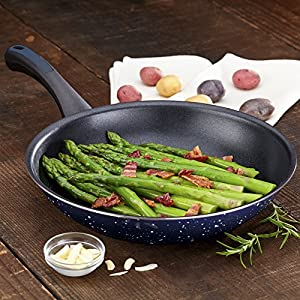Paula Deen Riverbend Aluminum Twin Pack 9.25-Inch and 11.5-Inch Skillets, Deep Blue Speckle