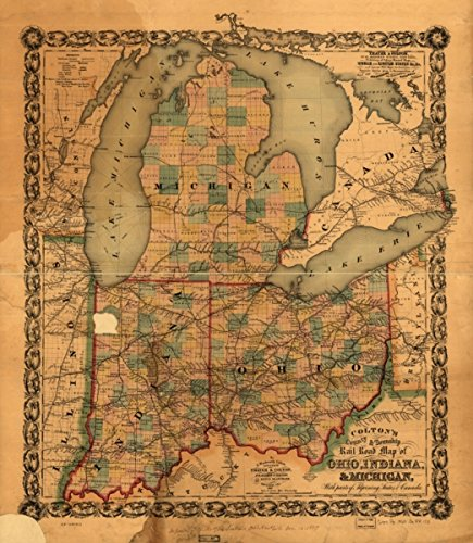 1860 map Colton's County & Township Rail Road map of Ohio, Indiana, Michigan, with Parts of adjoining States & Canada; Printed by Lang & Laing, 1859|Size 20x24 - Ready to Frame| Middle West|