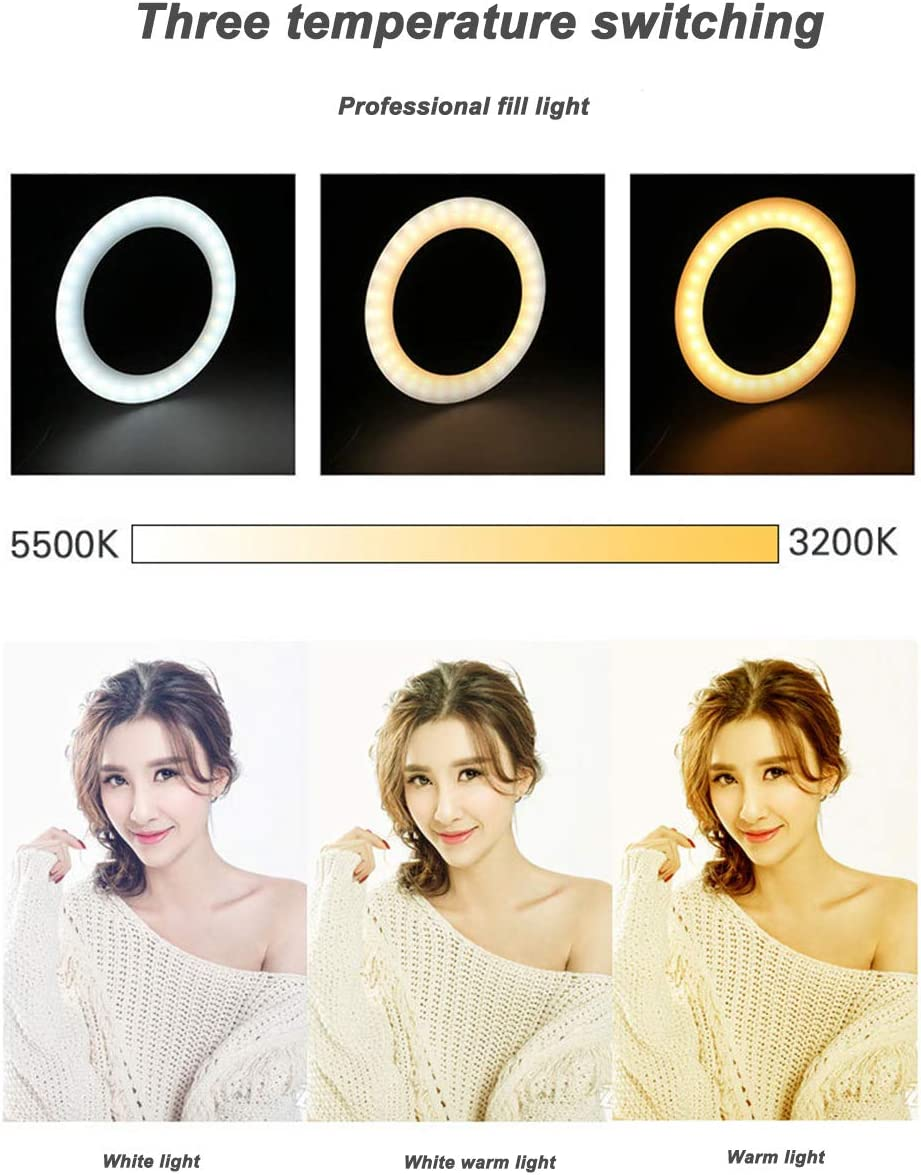 Table Stand Ldab 10 LED Selfie Ring Light 3 Light Modes//10-Level Brightness Color Temperature 2200K-5500K,for Live Stream//Makeup//YouTube Hose clamp,Yuntai