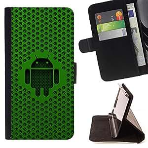 BullDog Case - FOR/HTC One M7 / - / Green Android /- Monedero de cuero de la PU Llevar cubierta de la caja con el ID Credit Card Slots Flip funda de cuer