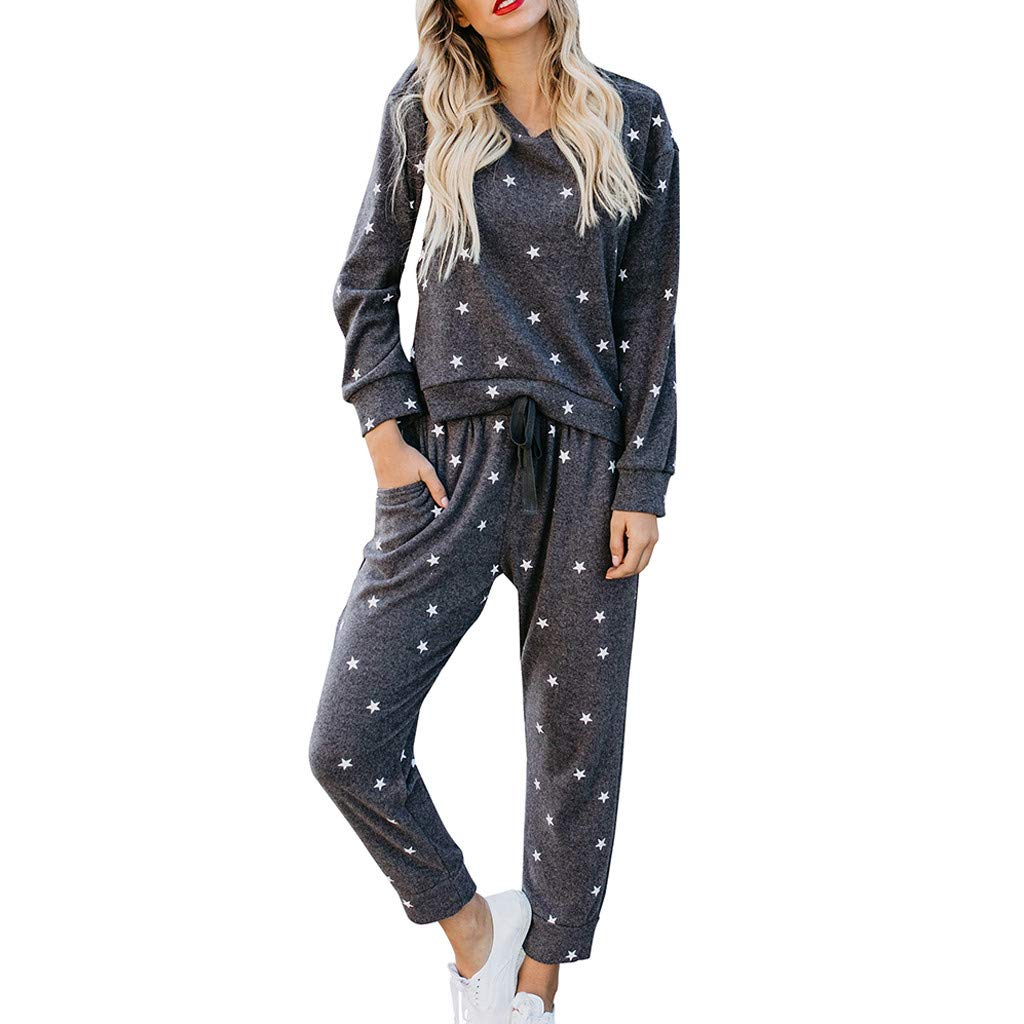 Women's 2 Piece Outfits Star Print Long Sleeve Sweatshirt and Pants Sweatsuits Set Cotton Tracksuits(Black, XL) by EINCcm