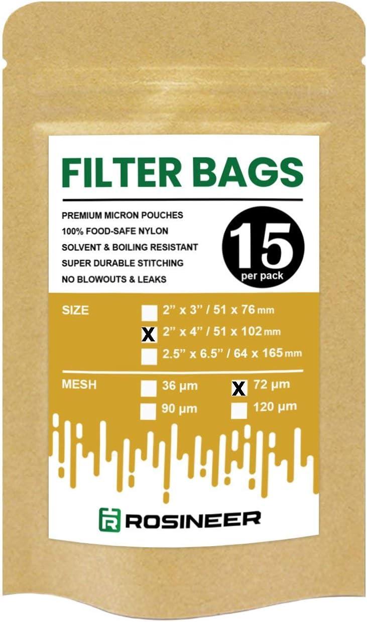 Double Stitching 2 x 4 Rosineer Premium Nylon Filter Bags 120 Micron Mesh Size 15 PCS Zero Blowouts