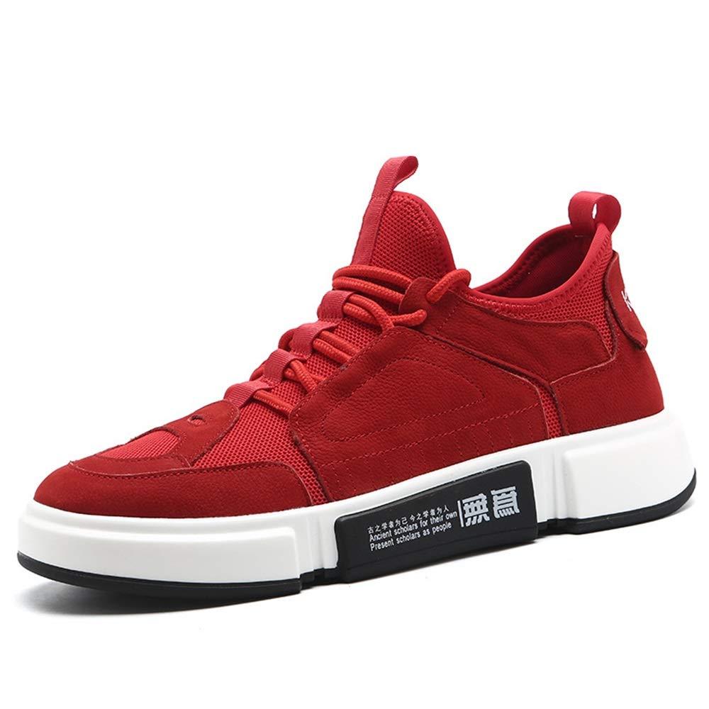 Qiusa Mens Durable Non Slip Schuhe weiche Sohle Komfort Breathable Casual Laufschuhe (Farbe   Rot, Größe   EU 39)