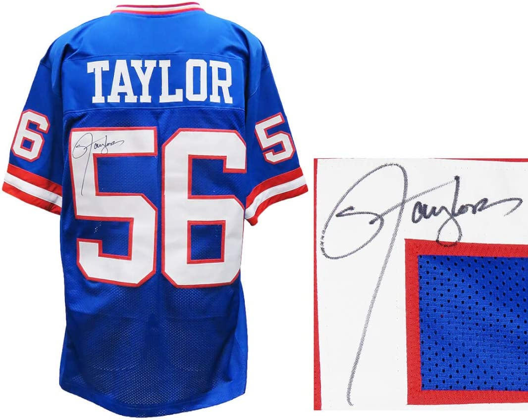 Amazon.com: New York Giants Lawrence Taylor Signed Blue Throwback ...