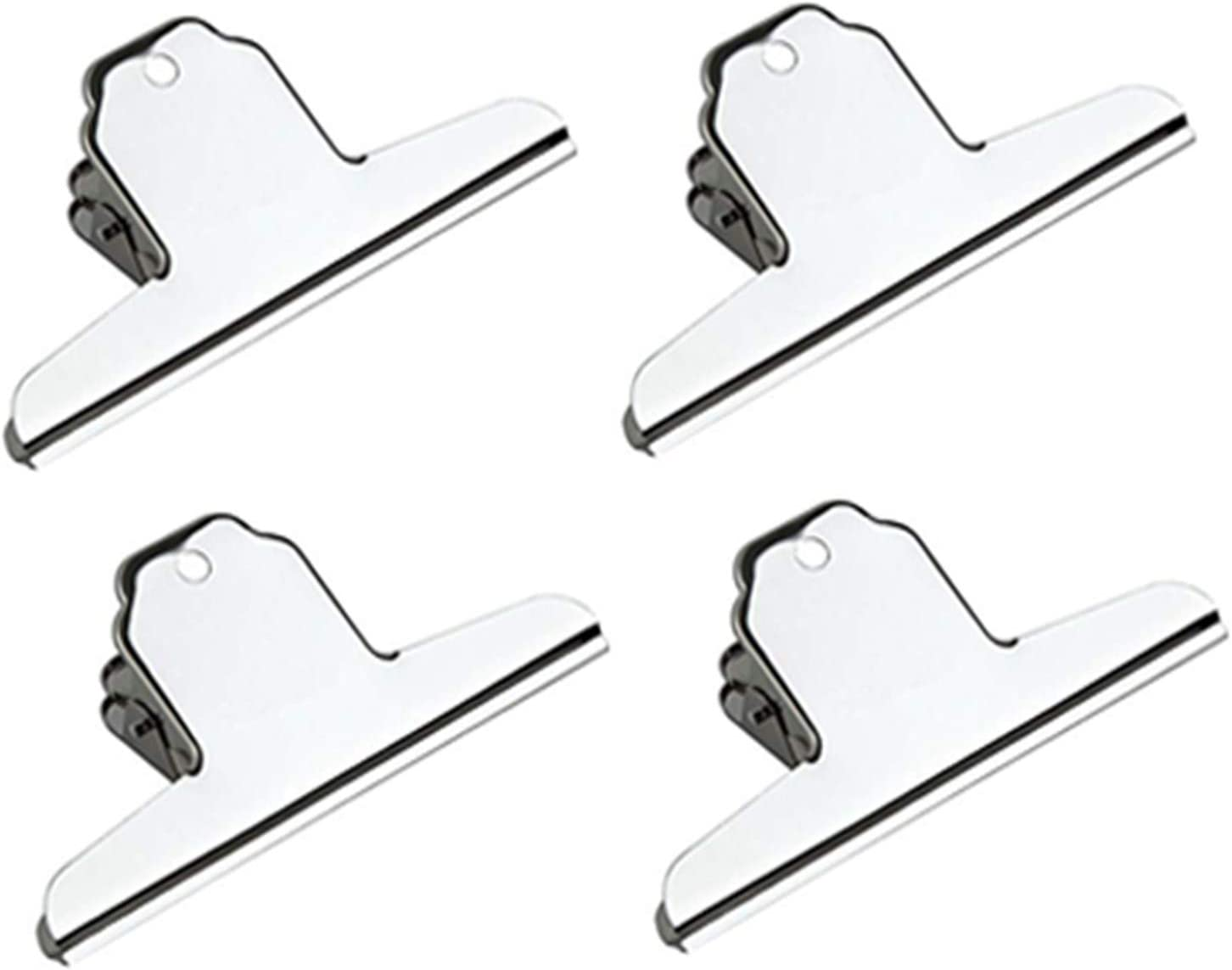 XMHF 7inch Large Bulldog Clip, Silver Stainless Steel File Money Binder Clips Clamps Metal Food Bag Paper Clips for Home Office School Paper Supplies 4Pack