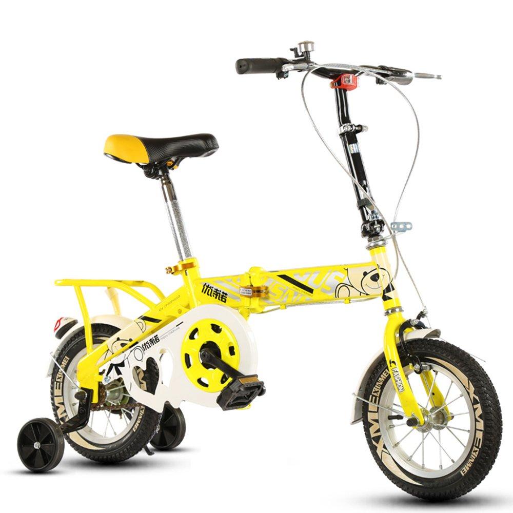 子供の折りたたみ自転車、12-14-16-20インチの男子学生自転車6-8-10-12歳の乳母車 ( 色 : Yellow-B , サイズ さいず : 12 inch ) B07CNFXV9L 12 inch|Yellow-B Yellow-B 12 inch