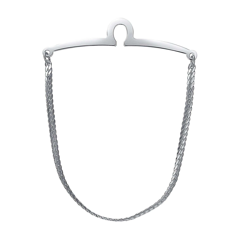 Yoursfs Single Loop Mens Tie Chain Silver Color Herringbone Design Cravat Collar Shirt Pins