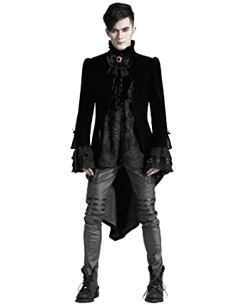b9cae528dde0 Punk Rave Mens Gothic Jacket Tailcoat Cloak Black Velvet Vampire Aristocrat  VTG: Amazon.co.uk: Clothing