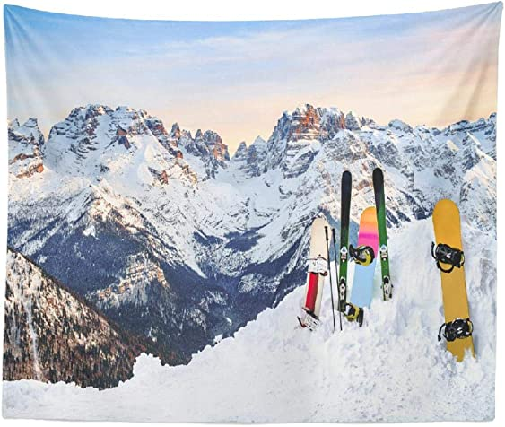 threetothree Tapestry 3 Snowboards Ski Standing Snow Slope Mountains Sunset Sky Skiing Hanging Tapestries 60 X 80 Inch Wall Hanging Decor for Bedroom Livingroom Dorm