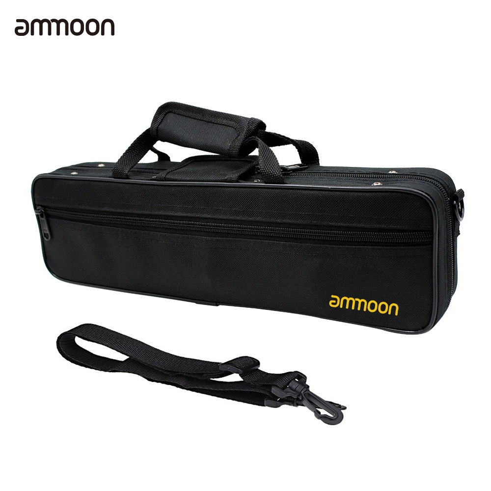 ammoon Flute Case Gig Bag Backpack Box Water-resistant 600D Foam Cotton Padding with Adjustable Single Shoulder Strap Flute Cover