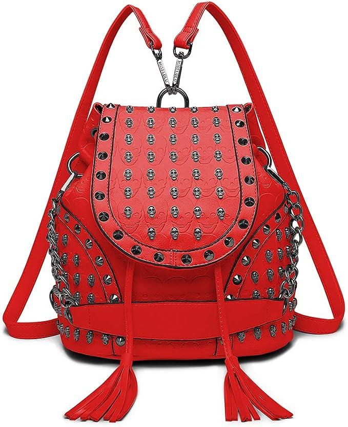 Miss Lulu Mode Rucksack Handtaschen Fur Frauen Schultergurt Mit Kette Kunstleder Studded Gepragt Schadel Amazon De Koffer Rucksacke Taschen