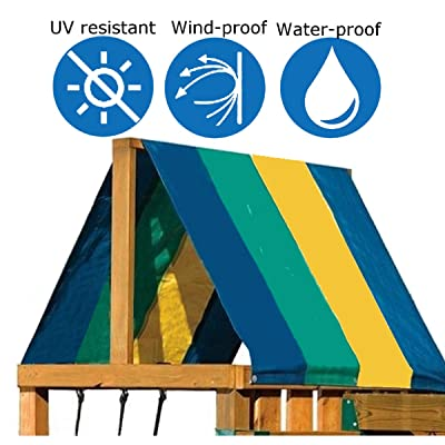 Colorful Swing Set Replacement Tarp Playground Canopy Collapsible for Children Outdoor Sunproof 52x90 Inch (Cover Only) : Industrial & Scientific