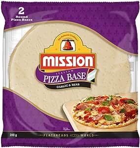 Mission Italian Pizza Base, Garlic & Herb, 2 round pizza bases, 200g