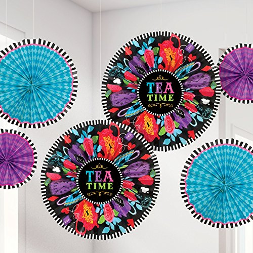 [Mad Tea Party Paper Hanging Fan Decorations - 6 Pack] (Mad Tea Party Costume)