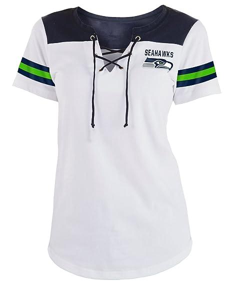 hot sale online 291fc b5b40 New Era Seattle Seahawks Women's Sleeve Striped Lace-Up T-shirt