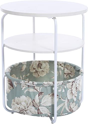 Garwarm 3-Tier Round Side Table End Table Nightstand with Fabric Storage Basket, Modern Studio Collection for Small Spaces Bedroom Living Room, 16.5 16.5 21 in LWH