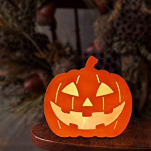 Halloween Decorations Lights Indoor, Halloween Pumpkin Night Lights with Battery Operated, Durable Double-Sided Halloween Lights Light Up Festival Decor, Pumpkin