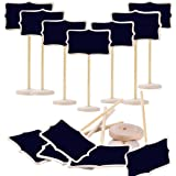 Megrocle 12 Pack Mini Rectangle Chalkboards Black Board with Stand for Message Board Signs
