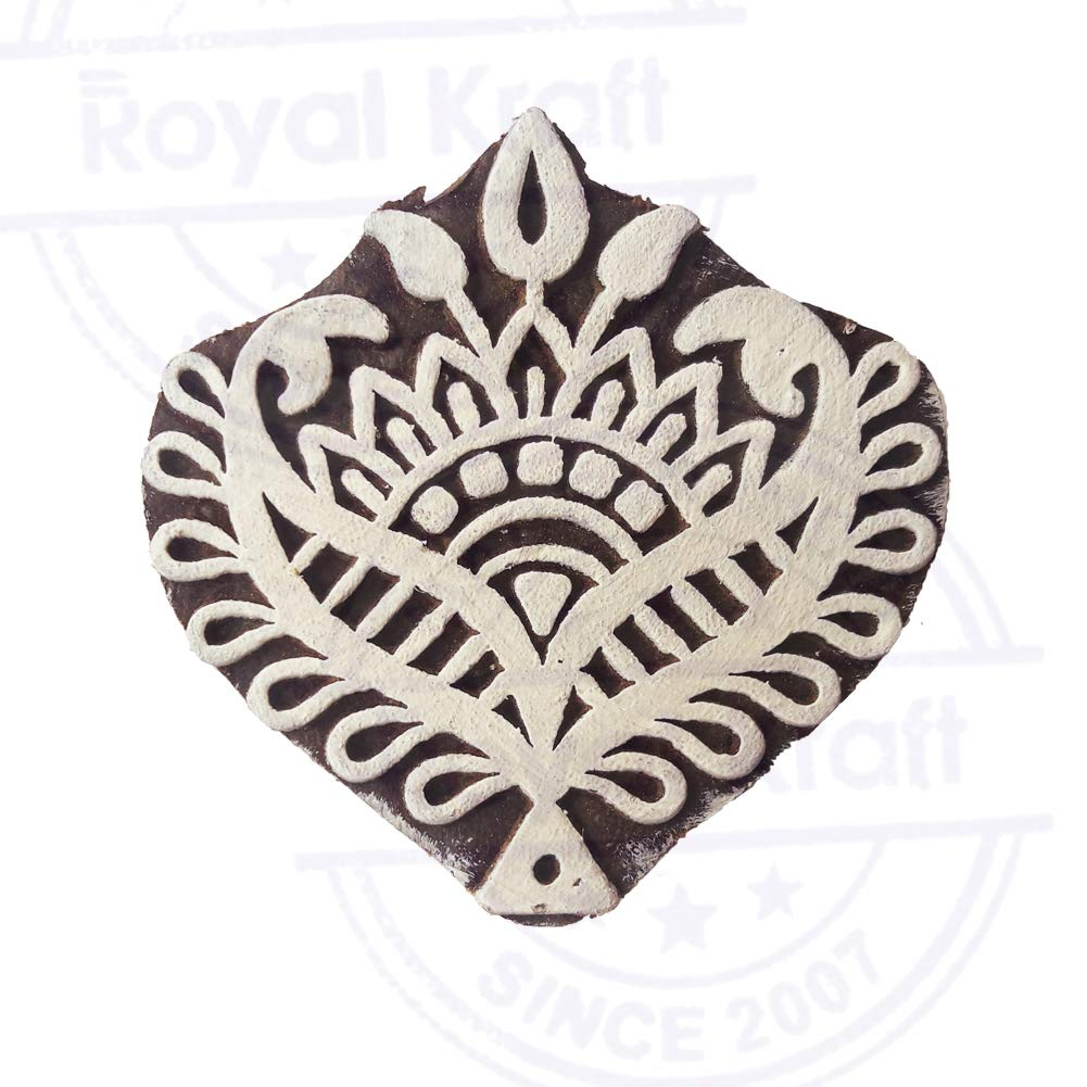 Indian Floral Pattern Fern Leaf Wood Block for Printing DIY Henna Fabric Textile Paper Clay Pottery Block Printing Stamp