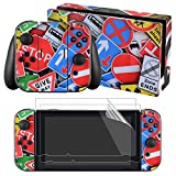 eXtremeRate Full Set Faceplate Skin Decal Stickers for Nintendo Switch with 2Pcs Screen Protector (Console & Joy-con & Dock & Grip)-Traffic Sign