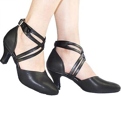 Xianshu Damen Tanzschuhe Kreuzgurt Schnalle Latein Schuhe Mittlere Ferse Pumps
