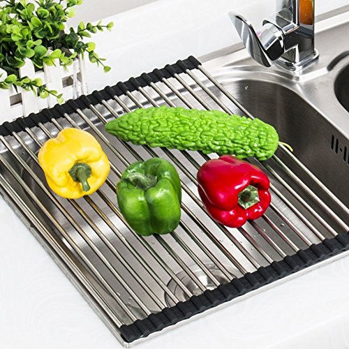 Purpose Dish (Dish Drying Rack Stainless Steel Roll-Up Detachable Over Sink Easy Cleaning (17.71