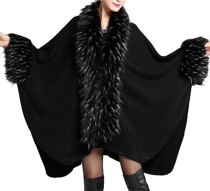 Helan Femmes Luxe Style Faux Fourrure Chale Cape Manteau Noir