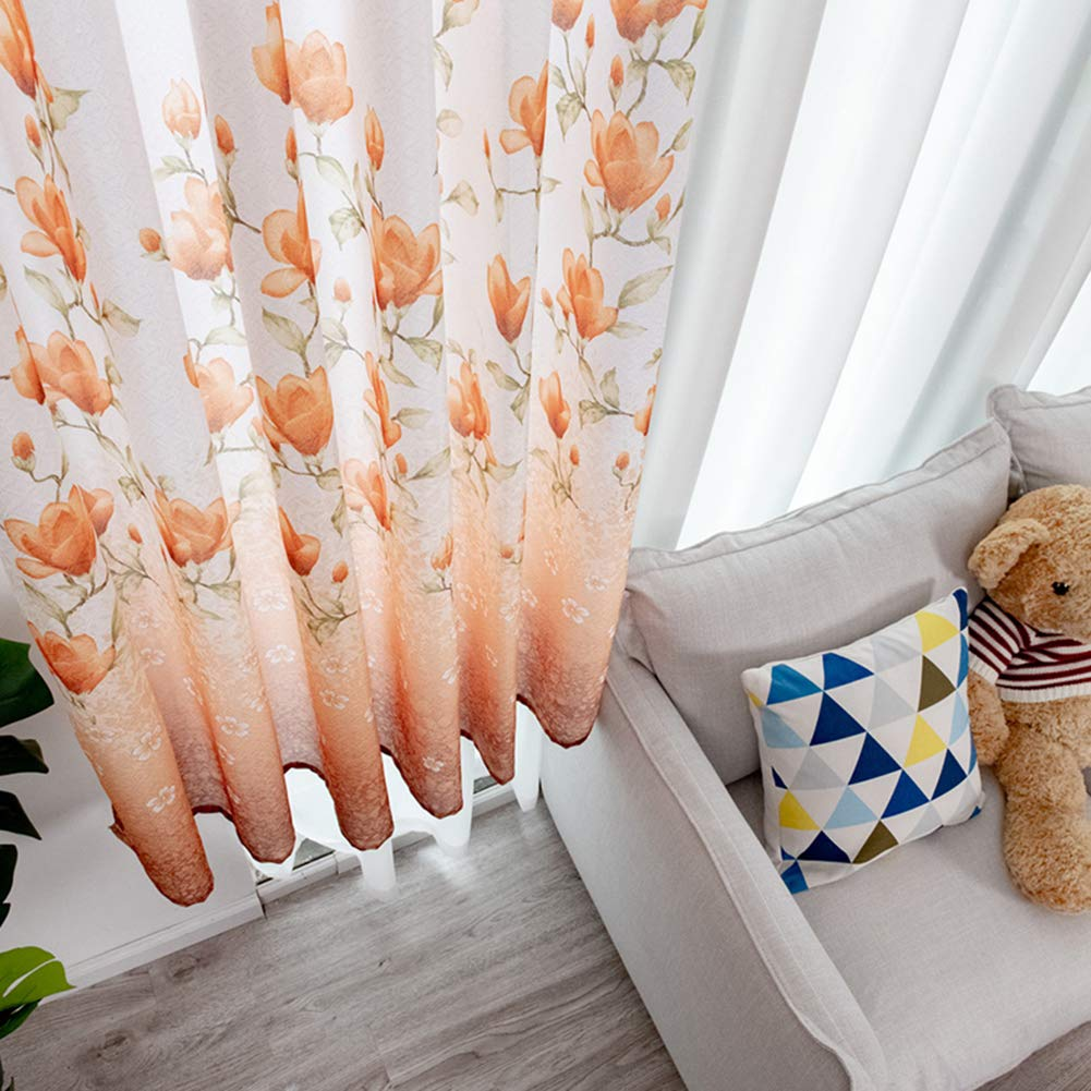 lila nordisches Blumendesign 100 x 200 cm Kinderzimmer Homeofying Gardine f/ür Wohnzimmer