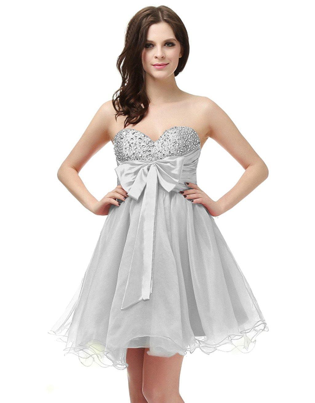 Silver Vantexi Women's Organza Short Beaded Homecoming Dress Prom Gown