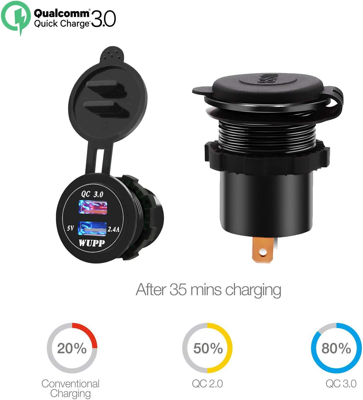Quick Charge 3.0 Dual USB Charger Socket Waterproof for Car Boat Marine RV Mobile with Extension Wire TURN RAISE Dual USB Charger Socket Power Outlet Green Light