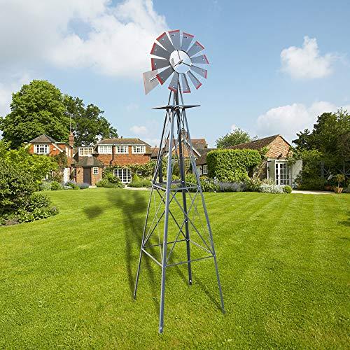 Ferty 8ft Windmill, Metal Steel Windmill Decor with 4-Leg Design, Ornamental Wind Mill Weather Vane Weather Resistant for Home Outdoor Yard Lawn Garden Farm Backyard (US Stock) - Ornamental Windmill Lawn