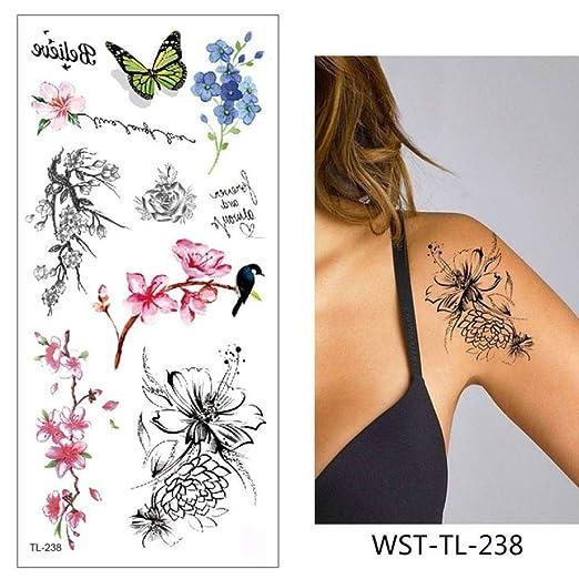 adgkitb 4pcs Tatuaje Pegatina Flores Impermeable WST-TL-238 9x19cm ...