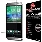 TECHGEAR Screen Protector fits HTC One M8 & M8s - GLASS Edition Genuine Tempered Glass Screen Protector Guard Cover Compatible with HTC One M8 & M8s