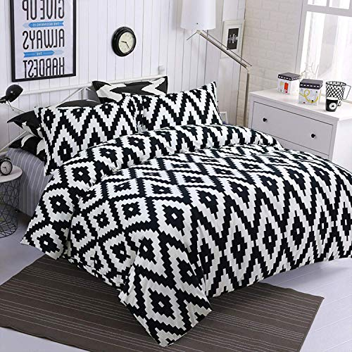Aztec Duvet Cover Set King Black and White Geometric Modern Pattern Printed with Zipper Ties 2 Pillowcases Durable Reversible Soft Polyester Comfortable 3pieces