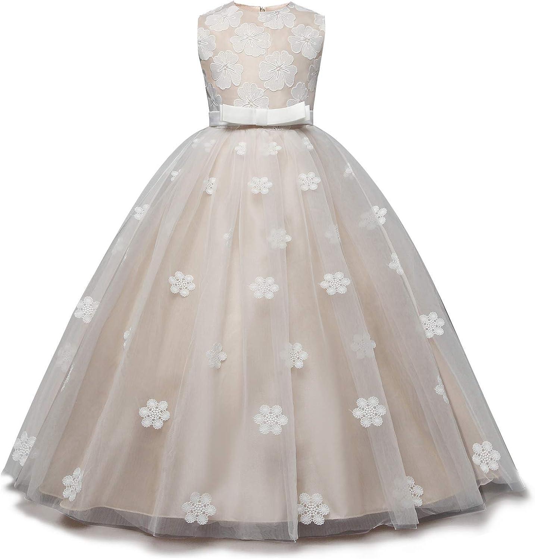 NNJXD Ragazze degli Abiti di Sfera Senza Maniche Ricamato da Sposa Festa di Compleanno Principessa Dress