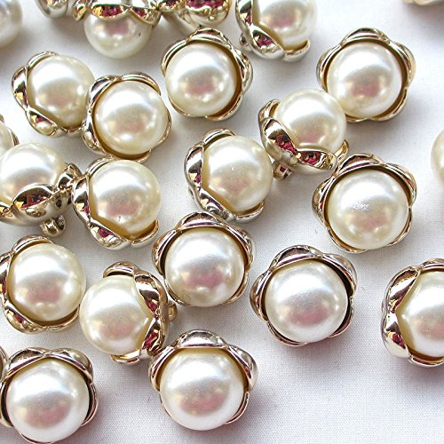 20pcs Plastic Gold Beige Pearl Buttons 20mm Sewing Craft Back Hole ()